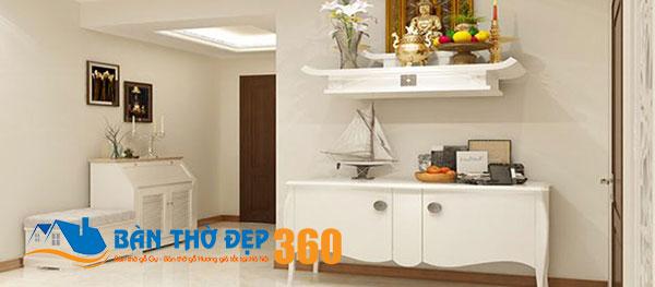 Đây là mẫu bàn thờ cho nhà chung cư nhỏ màu trắng tinh tươm