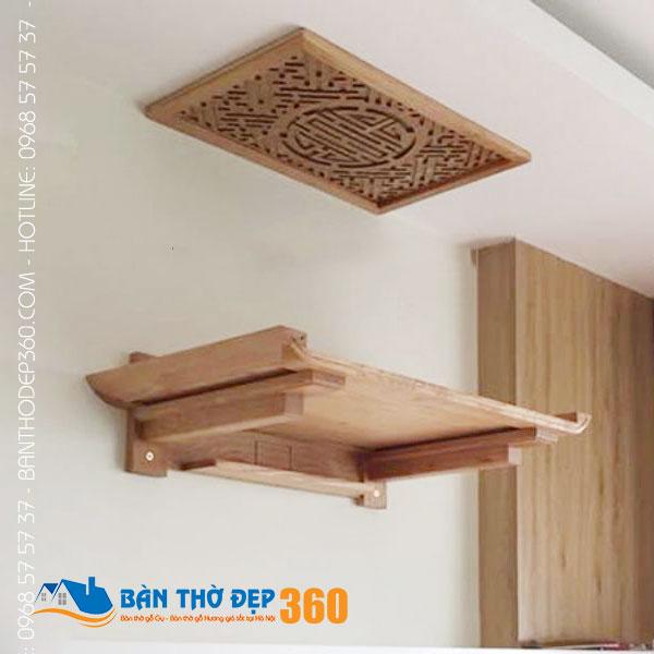 Báo giá bàn thờ treo tường gỗ sồi tại Hà Nội
