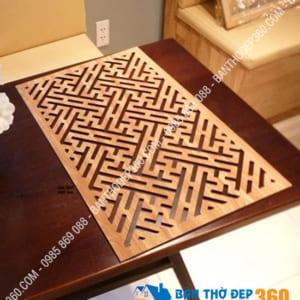 Tấm chống ám khói bàn thờ kích cỡ 41x81cm Chữ Vạn vàng sồi