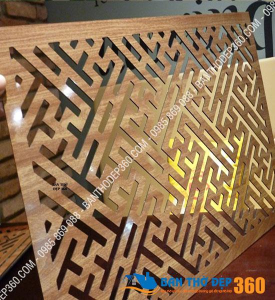 Tấm Chống Ám Khói Hương Bàn Thờ 41x61cm chữ Vạn vàng sồi Chắn 100% Khói