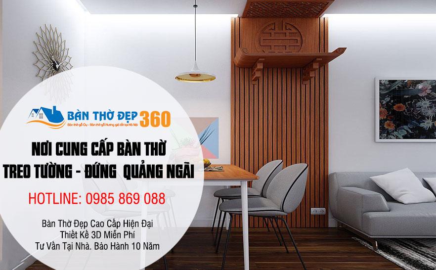 Bàn thờ treo tường, tủ thờ đẹp hiện đại cho chung cư - biệt thự tại Quảng Ngãi