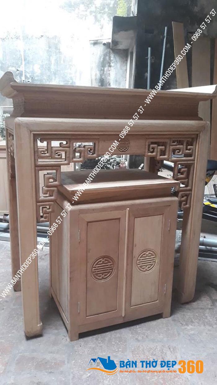 Mẫu bàn thờ gỗ sồi đẹp nhất dáng đứng hiện đại