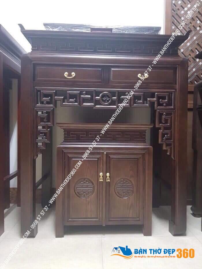 Bàn thờ đứng chung cư vách CNC bằng gỗ sồi
