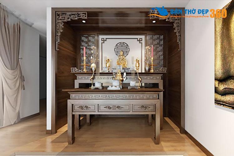 Mẫu thiết kế phòng khách có bàn thờ cho chung cư